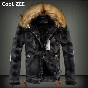 CooL ZEE 2018 Hommes Veste En Denim Avec Col De Fourrure Rip Ripped Fleece Jeans Veste Et Manteau Pour Automne Hiver S-XXXXL