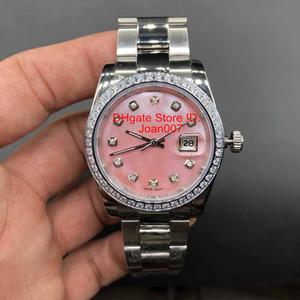 Diamond Watch Lunetta Quadrante Rosa Presidente Donne inox orologi delle signore delle donne automatico Orologio meccanico 36 millimetri