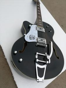 Top qualité GYES335-0002 couleur noire personnalisé main gauche F creux gros rocker avec vibrato Tremolo épaissir jazz guitare électrique, livraison gratuite