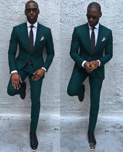 Vert foncé Slim Hommes Costumes 2018 Handsome Men Dinner Party Costumes De Mariage Groomsmen Groom Tuxedos Costumes De Soirée De Bal D'affaires (Veste + Pantalon)