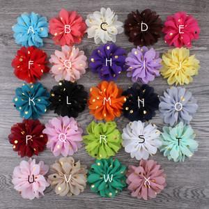 120pcs / lot 7.5cm 24colors flaumige Ballerina-Chiffon- Blumen-Verzierungs-Gewebe-Blumen mit Goldpunkt für Kindermädchen-Haar-Zusatz-Stirnbänder