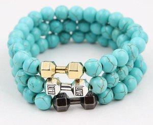 8 mm Dumbell Bracelet 천연석 용암 석상 Buddha Bracelet 청록색 Bangle Buddle Bead 팔찌