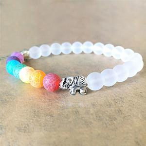 7 Chakra Elephant Charm del braccialetto bordati Mala Bead Yoga gioielli braccialetto di energia per gli uomini donne