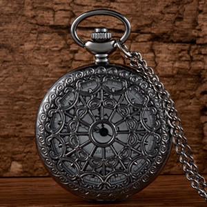체인 레트로 남성 여성 클래식 펜던트 목걸이 시계 선물 블랙 스파이더 웹 중공 석영 회중 시계