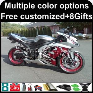 23colors + carenado de la motocicleta plata 8Gifts para el esquema de pintura muchos Kawasaki ZX-6R 2007 2008 ZX 6R 07-08 Carenado ABS