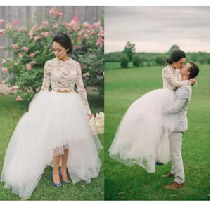 Long Sleeve Wedding Dresses Elegant Lace Illusion Long Sleeves Two Pieces Wedding Sweep Train Long Bridal Gowns