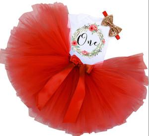 Девочка первый 1-й день рождения наряд платье партии пачка торт разбить юбка оголовье