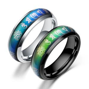 Budista seis personagem mantra anel de humor de aço inoxidável anel de aço titanium anel religioso para homem mix cor