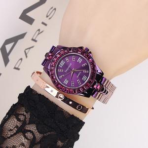 Damenuhr Swaymond Marken-Uhr-neue purpurrote Diamant-Pers5onlichkeit dauerhafte Edelstahl-Bügel-Art- und Weisedamen-Uhr