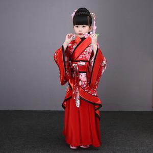 ropa tradicional china hanfu mujer bailando blanco vestido clásico trajes de baile folclórico para niños niñas niños niño rojo azul