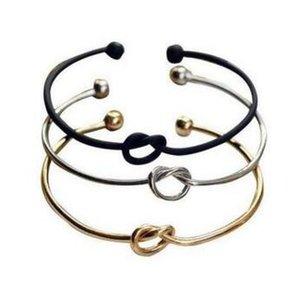 Pulseiras de fio aberto de cobre de ouro preto tom de prata expansível para pulseira de braceletes de nó de amor pulseira para crianças e adultos
