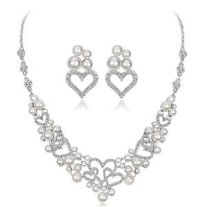 Романтический свадебный свадебные ювелирные наборы белые сердца Кристалл Rhinestone жемчуг ожерелье серьги костюм ювелирные наборы для женщин