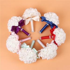1pcs 아이보리 새로운 신부 들러리 웨딩 장식 거품 꽃 장미 꽃다발 화이트 새틴 낭만적 인 웨딩 부케 저렴한 가격