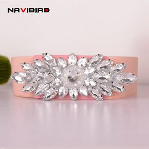 White Gemstone Women Belt Jeweled Rhinestones Elastic Belts Girdle Korean Crystal Femme Ceinture Elastic Waistband