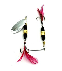 5PCS Lures Spinners ,Spinnerbaits , metal fishing spoons bait 8.7cm Blade Spinner Baits18g Sequin bait feather fishing hooks Rooster Tail