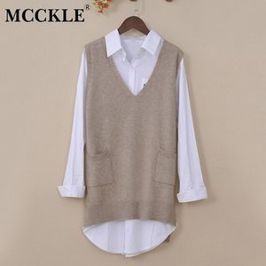 MCCKLE Autumn Women Cashmere Knitted Sweater Vests 2018 V Neck Casual Loose Solid Vest Female Pockets Waistcoat Pullover Tops