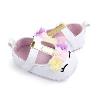 Toddler Bebek Kız Çiçek Unicorn Ayakkabı PU Deri Ayakkabı Yumuşak Sole Beşik Ayakkabı İlkbahar Sonbahar İlk walkers 0-18 M
