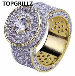 TOPGRILLZ Cor de Ouro Todos Congelaram Grande Pedra Micro Pave Cubic Zircon Anel 7 8 9 10 11 Cinco Tamanhos Anéis Hip Hop Jóias Para O Sexo Masculino