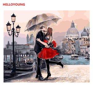 Romantico Pittura Amore Figura pittura digitale dipinto a mano olio da numeri dipinti ad olio cinesi dipinti di scorrimento per la casa