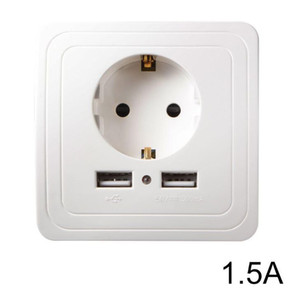 EU Plug Socket Power Outlet Panel Dual USB Port 1.5A Wall Charger Adapter HS916+