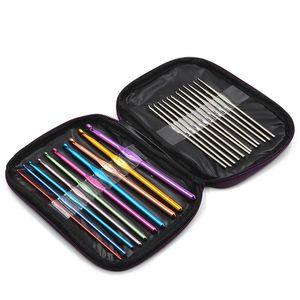 22 Adet Set Çok renkli Alüminyum Tığ Hooks İğneler Örgü Dokuma El Sanatları İplik Dikiş Araçları Tığ Hooks Örme İğneler