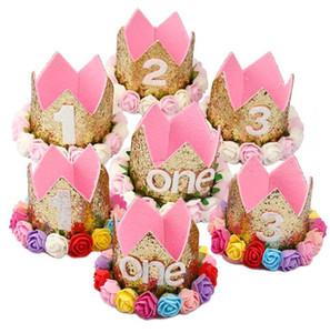 FENGRISE Baby Girl Birthday Party Hüte Ich bin eine Caps ersten Geburtstag Prinzessin Krone Party Dekorationen Kids Favors Rosa Stirnband