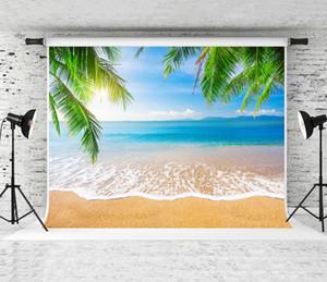 Sonho 7x5ft Summer Beach Backdrops Céu Azul Sol Mar Fotografia de Fundo para o Casamento Photo Studio Backdrop Prop Personalizado