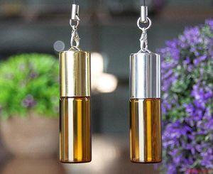 Bottiglia di profumo del campione del pendente di vetro vuoto ambrato 5ML con le fiale di vetro della palla del rullo d'acciaio Bottiglia di olio essenziale di promozione piccola