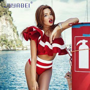 JUYABEI One shoulder Ruffles Swimwear Sexy Bikinis 2018 Mujer Two Piece Swimsuit Donna Rosso Nero Bianco Solid Fitness Beach Wear