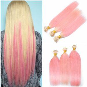 Bundle de cheveux humains péruvien # 613 / Pink Ombre Offres 3Pcs Bundles soyeux blonds et roses à deux tons Ombre Vierge