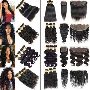 Kapalı Yolu 34 36 40 Uzun Uzantıları ile Frontal Vücut Derin Dalga İnsan Saç Paketler ile Toptan Fiyat Brezilyalı Virgin Saç Düz Paketler