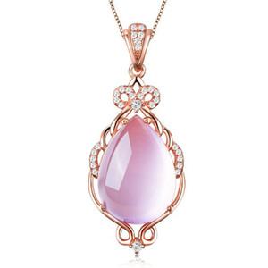Collier en argent sterling 925 avec pendentif en pierre naturelle, hibiscus, cristal naturel, pendentif en or rose, chaîne de clavicule dorée ornements de Noël simples