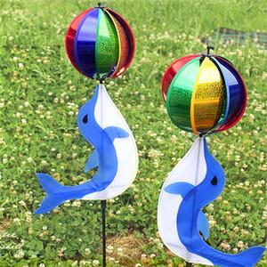 Dolphin bola Molino de viento colorido creativo Pinwheel juguetes al aire libre para el jardín Acampada Decoración de la venta caliente T2I266