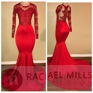 Vintage Slim Sheer Maniche lunghe Red Prom Dresses Mermaid Lace Appliqued Perline Paillettes African Black Girls Evening Gowns Custom