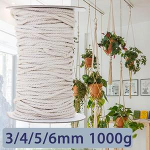 KIWARM 3 / 4 / 5 / 6mm 1000g 화이트 코튼 트위스트 꼰 코드 밧줄 DIY 홈 방직 액세서리 Craft Macrame String