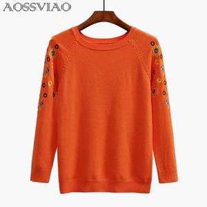 AOSSVIAO Embroidery Sweater Women 2017 Autumn Winter Women Sweaters And Pullovers Female Knitted Tricot Jumper Pull Femme Black