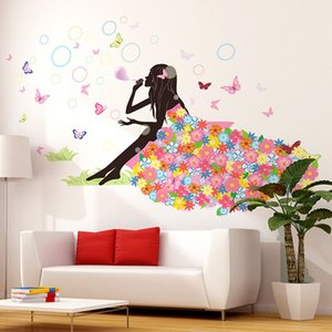 50x70cm Fairy Flower Butterfly Stickers Decal Decoration DIY Nursery Kids Baby Girl Room Wall Sticker Adornos para el hogar Nuevo