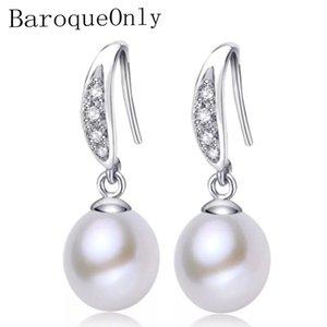Baroqueonly 100% природа пресноводная жемчужина мода серьги с 925 серебро, форма слеза жемчужина женщины / девушки подарки
