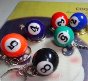 الأزياء البسيطة بركة البلياردو السنوكر الجدول الكرة المفاتيح كيرينغ مفتاح سلسلة ل عيد ميلاد محظوظ هدية مختلط الألوان