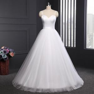 Spaghetti Strap Beach Abiti da sposa 2018 LORIE Vestido Noiva Praia Simple White Tulle Casamento Abiti da sposa Custom Made