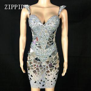 Robe brillante en argent Paillettes strass femmes anniversaire brillant costume sexy de bal Celebrate bling Mirrors Robes de soirée Outfit