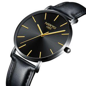 NIBOSI Uhren Famous Top Marken-Kleid Mode-Geschäfts-Geliebten Uhr Schweizer Quarz-Armbanduhr-Lederarmband