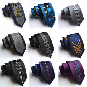 Neue Ankunfts-silk dünne Mann-Krawatten arbeiten 6cm dünne Streifen-Punkt-Blumenhalskrawatte für Männer um Gesponnenes Geschäftshochzeitsfest der formellen Kleidung