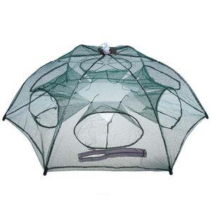 Moda Hot Folded Portable Hexagon 6 Fori Trappola per gamberi da pesca automatica Rete da pesca Pesce Gambero Minnow Crab Baits Cast Trappola a rete