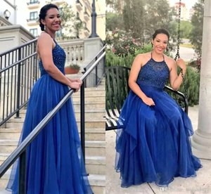 Royal Blue A Line Halter Prom Dresses Lace Beaded Tiered Skirt Homecoming Dress vestidos de fiesta Formal Prom Gown