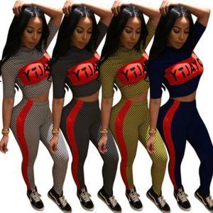 Poliéster Treino curto Mulheres Sleeve Carta Imprimir Plaid Top Curto Bodycon Pant Long jogo Suit Moda Feminina 4 Cor S-XL