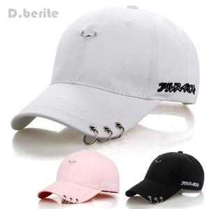 Mens Snapback Moda K Pop Ferro Anel Chapéus ajustável Boné de beisebol Unisex Caps Snapback Hip Hop Caps
