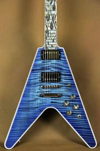 Custom Shop Lanciafiamme Flying V Ultima Fuoco Tiger Blue Flame Maple Top chitarra elettrica intricato Madre Perla Abalone Fiamma Inlay