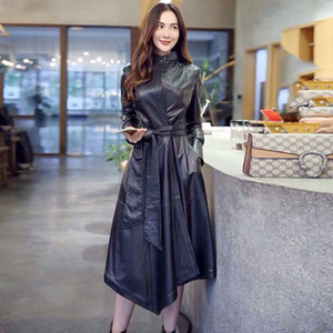 Top Luxury Real Sheep Leather Long Women Jacket Ladies Long Genuine Trench Coat F499 negro con cinturón