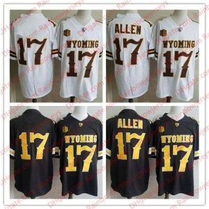 NCAA Wyoming Cowboys # 17 Josh Allen Brown Weiß College Football Trikots Männer Jugend Kinder Genäht No Name
